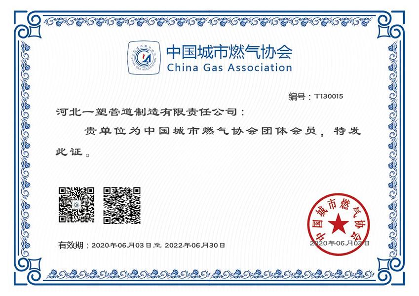城市燃气协会证书